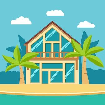 Zomerhuis met palmbomen aan zee.