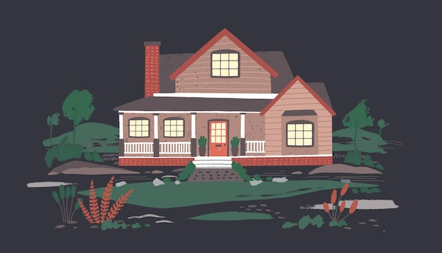 Zomerhuisje of herenhuis met veranda omgeven door prachtige natuur in duisternis