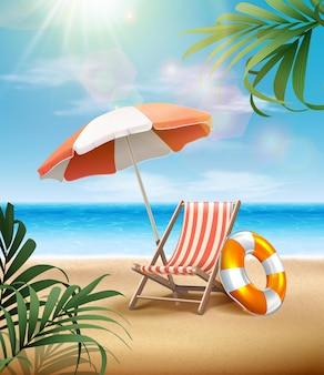 Zomerillustratie met zonnebank met paraplu en opblaasbare ring op het zand met zonnestralen en tropische bladeren en golven van de oceaan