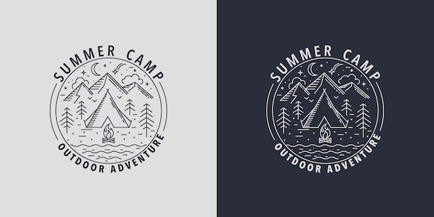 Zomerkamp badges.logo voor kampeeractiviteiten in het wild. embleem voor scout met tent, vreugdevuur, berg, rivier en bos. tijd voor plezier en activiteitenprogramma's in de zomervakantie. vectorillustratie.