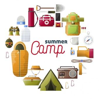 Zomerkamp kamperen gereedschappen samenstelling