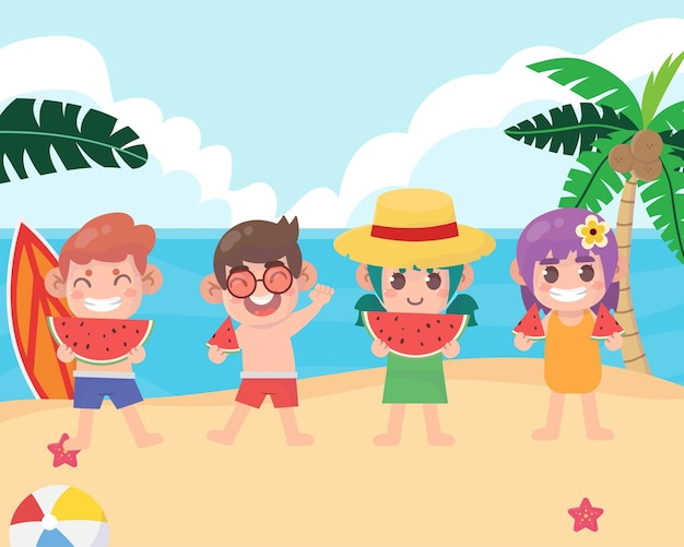 Zomerkamp met kinderen op het strand
