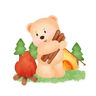 Zomerkampelementen en schattige beer