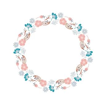 Zomerkrans met bloemen in scandinavische stijl. lentekruid plat abstract vector tuinframe voor vrouwendag