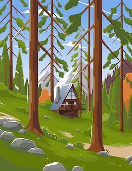 Zomerlandschap in een nationaal park in de verenigde staten. landschap van een bos in een park. panorama van een bos in een nationaal park in canada. prachtig landschap. vector illustratie. eps 10
