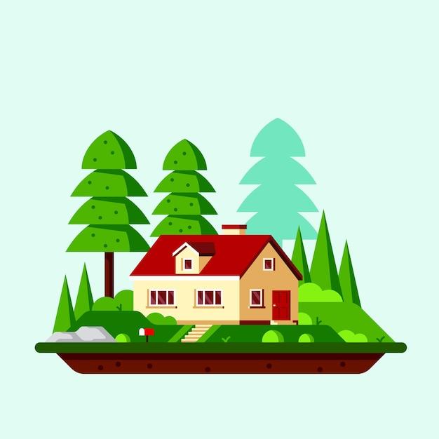Zomerlandschap met familiehuisje en bomen