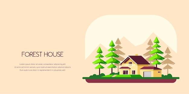 Zomerlandschap met familiehuisje en pijnbomen