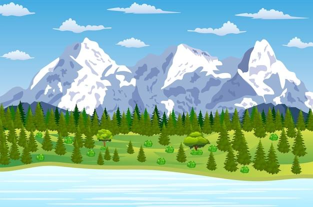 Zomerlandschap met weilanden en bergen. rivier en het bos, natuurlandschap