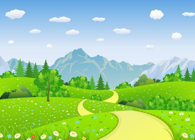 Zomerlandschap met weilanden en bergen.