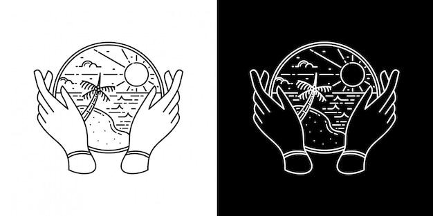 Zomerontwerp met hand monoline-ontwerp