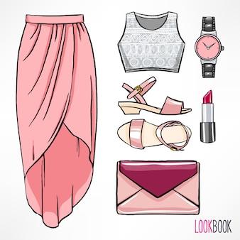 Zomeroutfit voor de vrouw. jurk en accessoires.