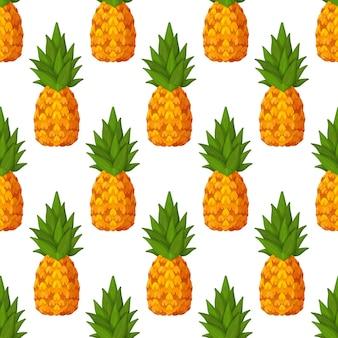 Zomerpatroon met ananas vector naadloos patroon met tropisch fruit en hun plakjes