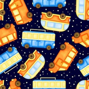 Zomerpatroon met vervoer. cartoon-stijl. vector illustratie.