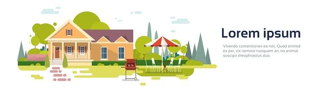 Zomerpicknick buiten huis barbecue feestje