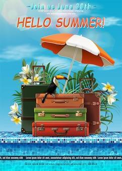 Zomerreisillustratie met strand en bagage aan de zijkant van het zwembad