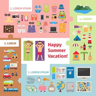 Zomerreizen en vakantie-elementen.
