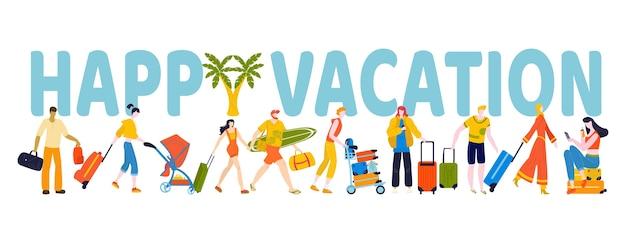 Zomerrust mensen, prettige vakantie, belettering met grote letters, actief leven, illustratie, op wit. jonge mannen, vrouwen en kinderen toeristen, karakterverzameling.