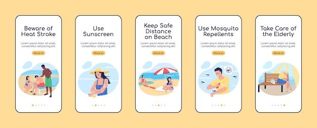 Zomerrust veiligheidstips onboarding mobiele app scherm platte vector sjabloon