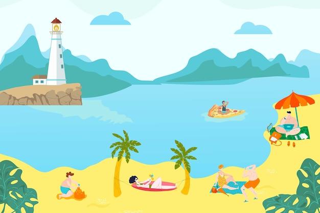 Zomerrust volkeren op strand, jonge meisjes liggen in zand, warme zee, zeegezicht, leven, stijl illustratie. buitenactiviteiten, vuurtoren aan de kust, bergachtig terrein,