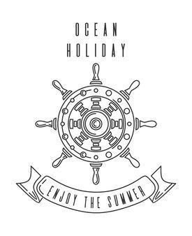 Zomers design met scheepsstuur. oceaan vakantie. geniet van de zomer.