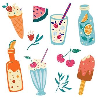Zomers eten en drinken. watermeloen, kers, ijs, limonade, frisdrank, milkshake. zomervakantie. leuke handgetekende set. strandfeest pictogrammen. goed voor web, banners, posters, kaarten. vector illustratie.