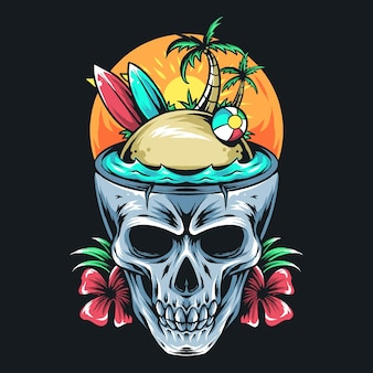 Zomerschedel met surfplank, kokospalm en bal. kunstwerk t-shirt ontwerp