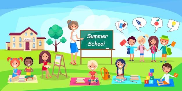 Zomerschool met kinderen en leraar