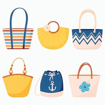 Zomerse set strandtassen en rugzak met leren handvatten en touw in een vlakke stijl