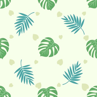 Zomerse sfeer tropische bladeren naadloos patroon