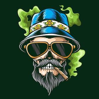 Zomerse vibe rokende schedel