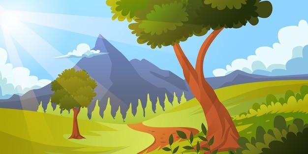 Zomerseizoen groen bos en bergheuvel met blauwe luchtscène landschap panorama