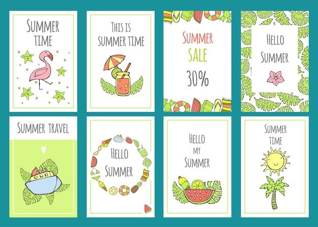 Zomerset verkoopbannersjablonen met schattige handgetekende ontwerpelementen, handgeschreven letters en texturen. vectorillustratie voor uw webdesign. zomertijd.