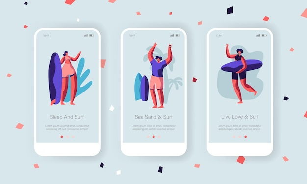 Zomersport mobiele app-pagina schermset aan boord.