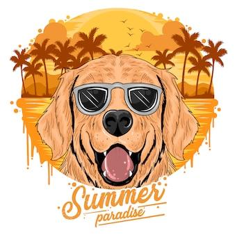 Zomerstrand en kokosboomboom met leuke honden puppy