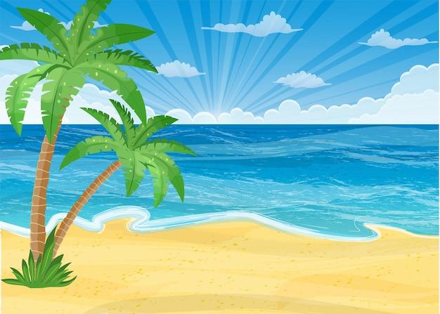 Zomerstrand met zon, palmbomen en wolkenloze lucht