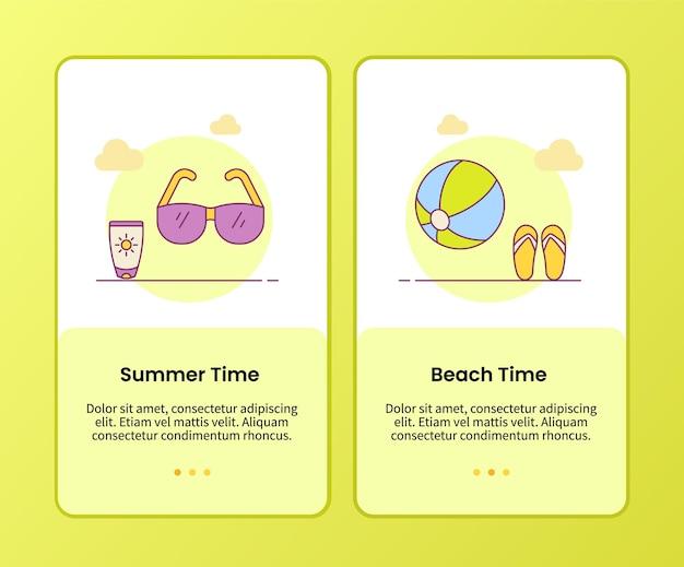 Zomerstrandtijdcampagne voor het onboarden van bannersjabloon voor mobiele apps-applicaties