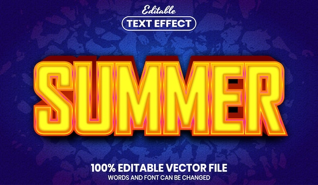 Zomertekst, bewerkbaar teksteffect in lettertypestijl
