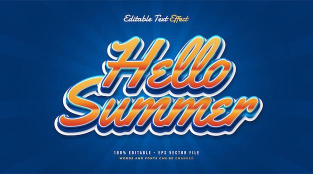 Zomerteksteffect in blauw en oranje met vintage stijl. bewerkbaar teksteffect