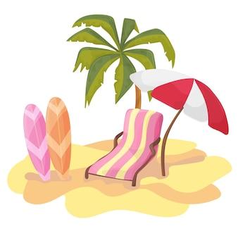 Zomertijd achtergrond banner ontwerpsjabloon en teken seizoen elementen strand