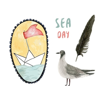 Zomertijd. aquarel schip illustratie met zeemeeuw en veren. zee vakantie set.