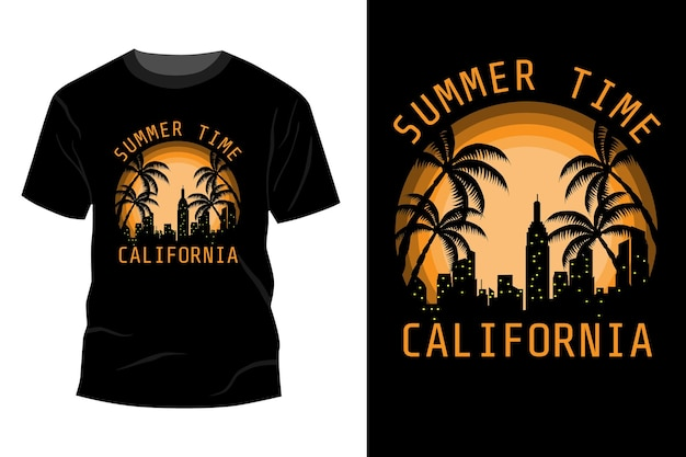 Zomertijd californië t-shirt mockup ontwerp vintage retro