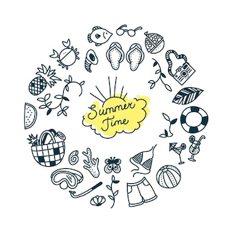 Zomertijd doodle set in ronde print watersport ontspannen en tropische vakantievoorwerpen