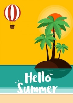 Zomertijd en prettige vakantie poster sjabloon achtergrond