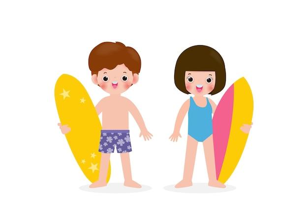 Zomertijd en set van schattige surfer aziatische kinderen karakter met surfplank op strand