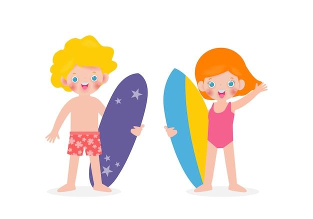 Zomertijd en set van schattige surfer blanke kinderen karakter met surfplank op strand
