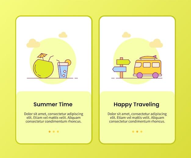 Zomertijd gelukkig reizende campagne voor het onboarden van applicatiesjabloon voor mobiele apps