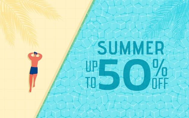 Zomertijd hete verkoop reclameontwerp met man in zwembad.