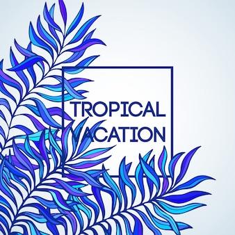 Zomertijd. illustratie van tropische palmbladen