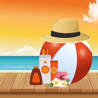 Zomertijd in strand bal hoed sunblock bronzer bloemen zee vakanties