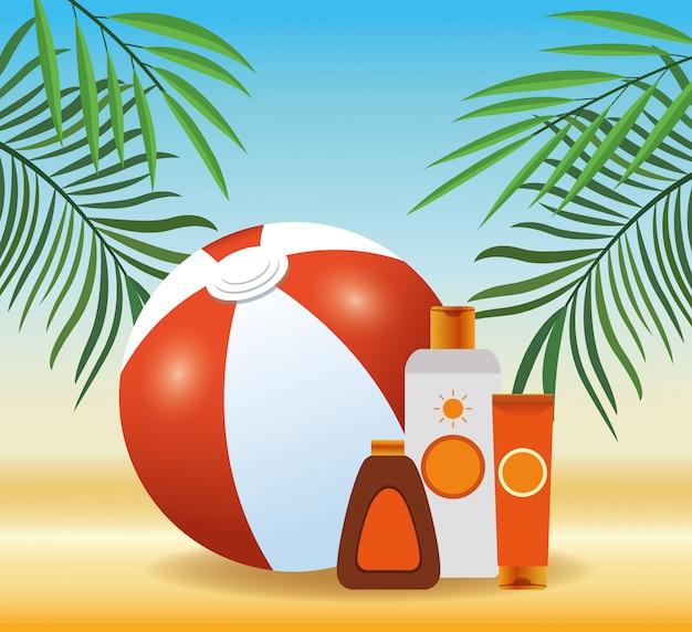 Zomertijd in strand bal sunblock crème buis fles vakanties exotisch gebladerte